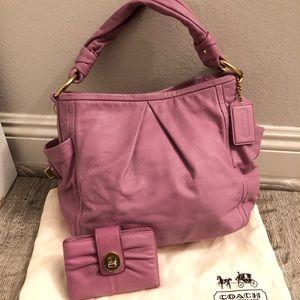 Authentic Coach Leather Coach Handbag & Wallet Set